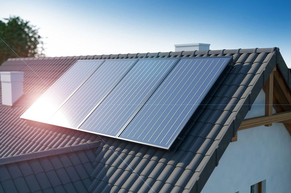 屋頂上的太陽能電池板