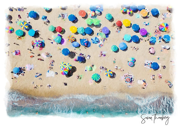 Rehoboth Beach drone picture of umbrellas