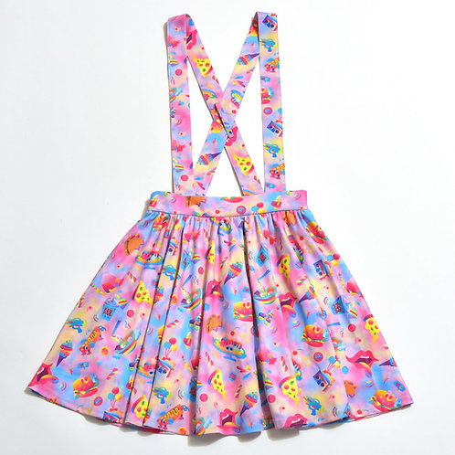 6%DOKIDOKI - Yummy Yummy In My Tummy Pastel Suspender Skirt