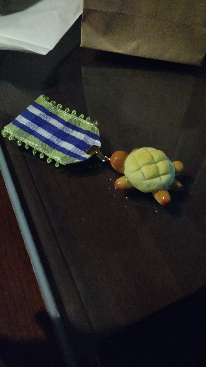 This small, handmade melon pan turtle was too cute to resist! The ribbon colours are also GHOST GiRL colours!