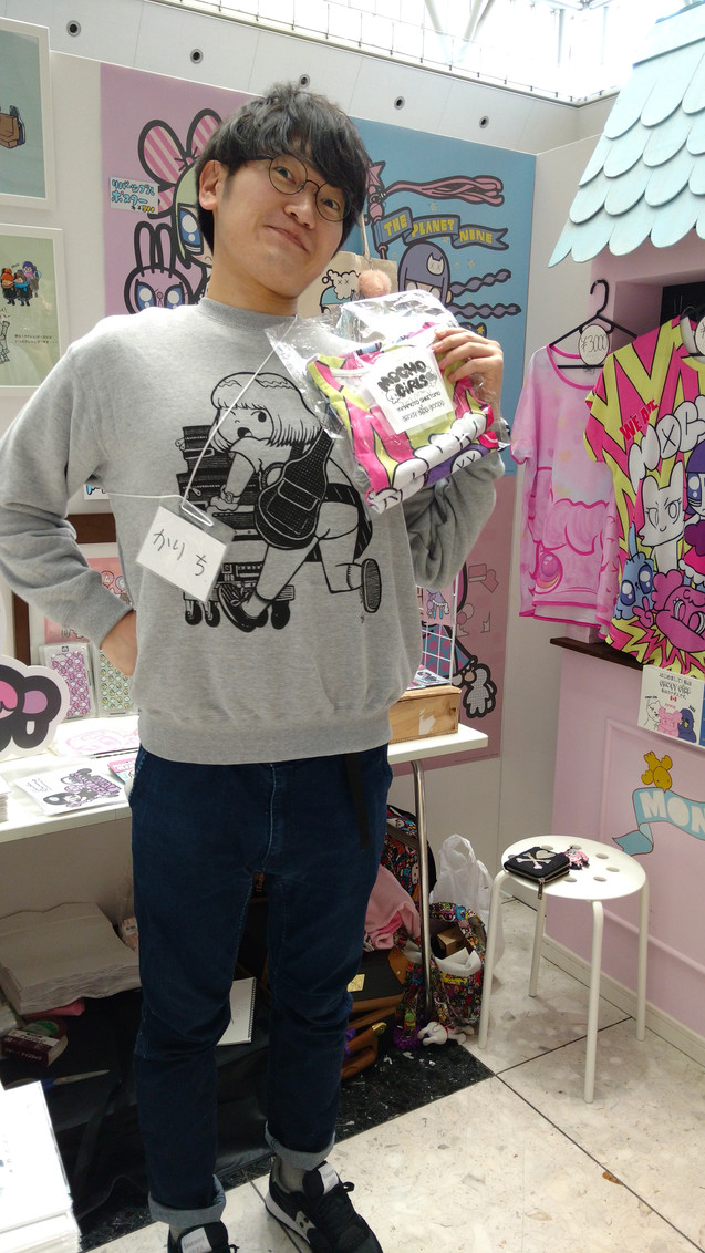He bought the MOGHO GIRLS Tee! He was a friend of MONSTER GIRL!