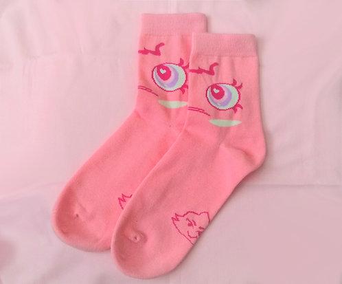 Pompoji Pink Socks