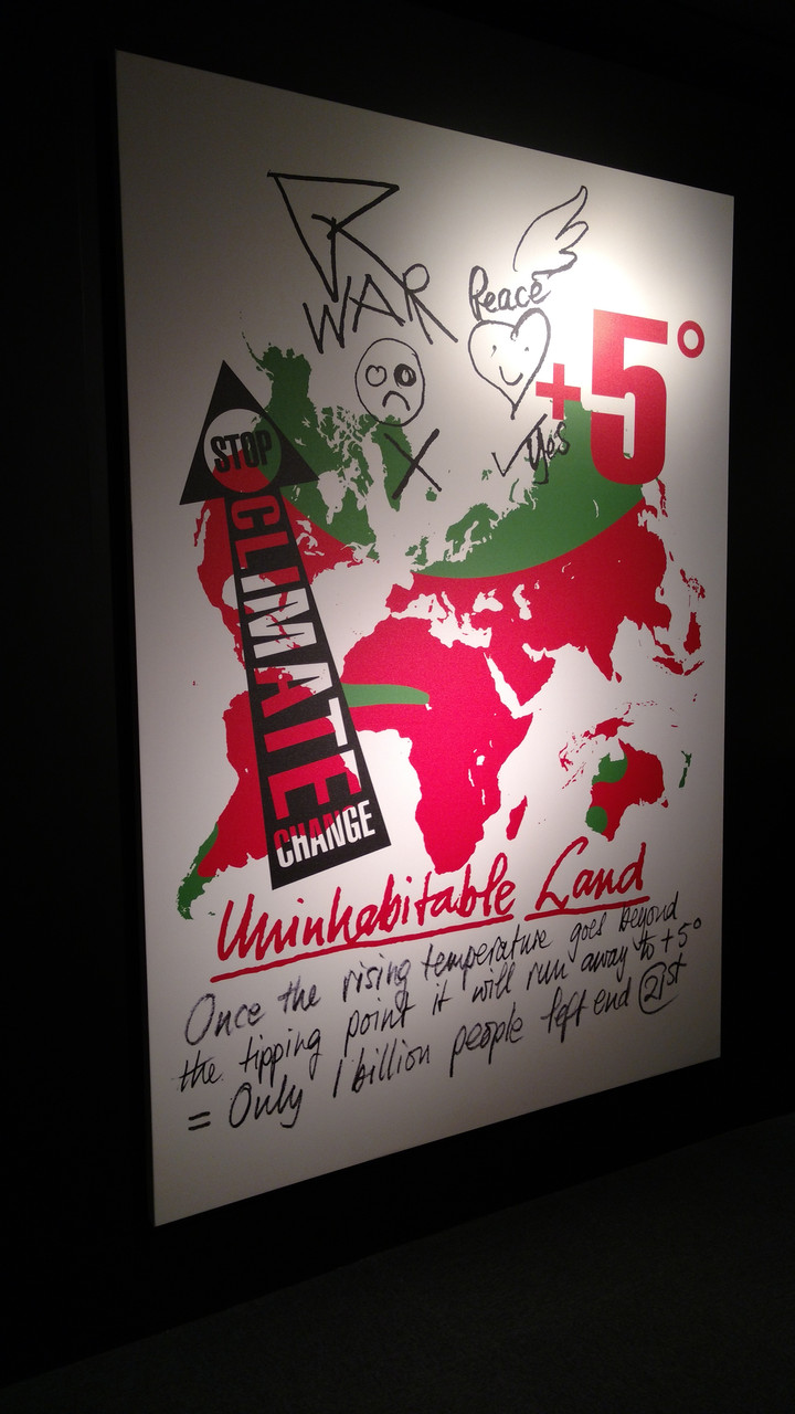 This piece is showing the climate change around the world! Lets help prevent it from getting worse and work hard to turn that red into green!