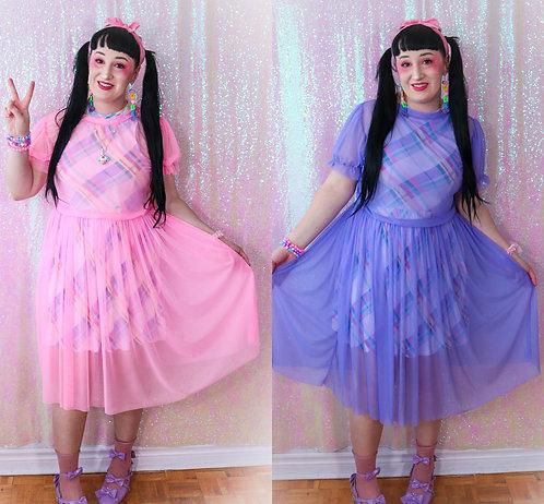 Puffy Sleeve Mesh Dress