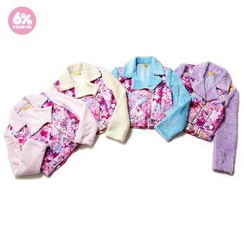 6%DOKIDOKI - Girls Daydream Pink Boa Biker Jacket