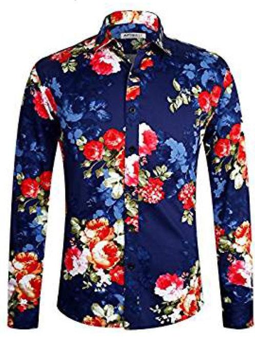 Men's 100% Cotton Long Sleeve Floral Button Down Shirt