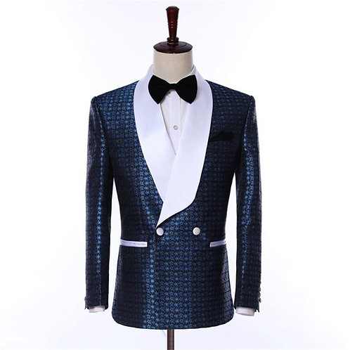 Navy Blue with White Shawl Lapel