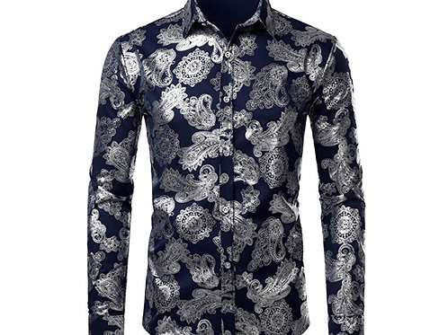 Printed Slim Fit Long Sleeve Dress Shirts