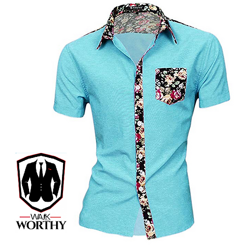 Men Summer Contrast Floral Print Pocket Short Sleeve Button Down