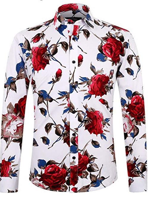 Men's Floral Slim Fit Long Sleeve Cotton Casual Button Down Dress Shirt