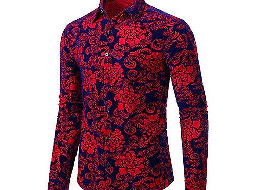 Floral Vintage Velvet Slim Fit Long Sleeve Casual Button Down Shirt