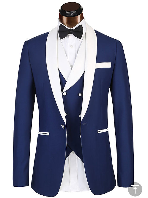 Navy Blue Shawl 3PC Lapel Tux