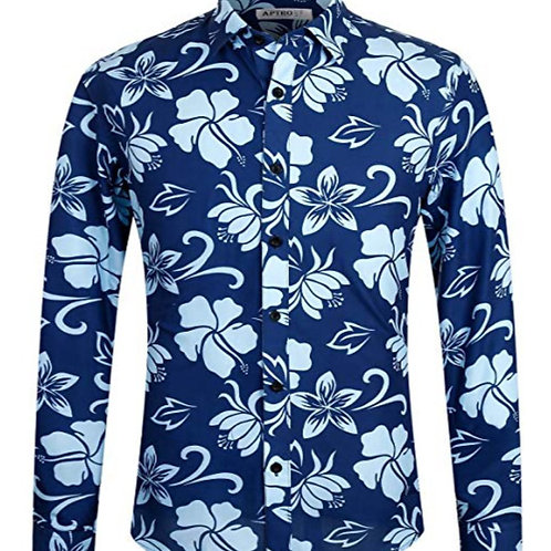 Men's 100% Cotton Long Sleeve Floral Button Down Shirt