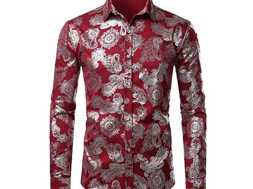 Rose Printed Slim Fit Long Sleeve Dress Shirts