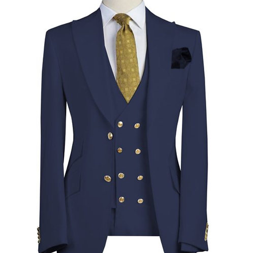 Navy Blue with Double Breasted Vest