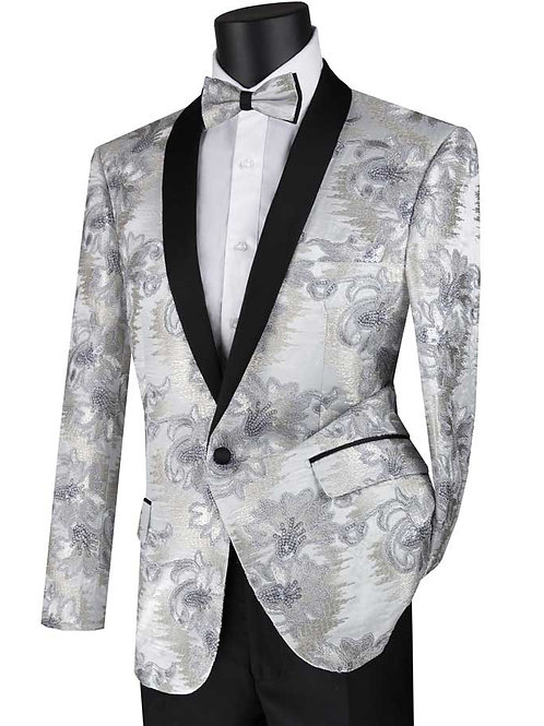 BSF-13 Fancy Embroidery Single Breasted 1 Button, Slim Fit Sport Coat