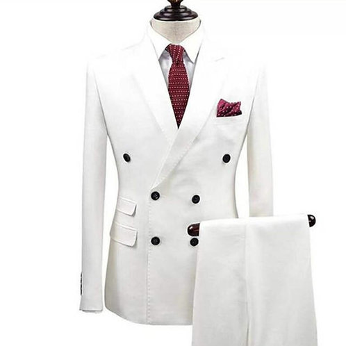 White Dbl Breasted 6 Button Suit