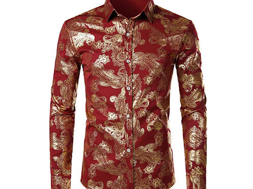 Mens Hipster Gold Rose Printed Slim Fit Long Sleeve Dress Shirts