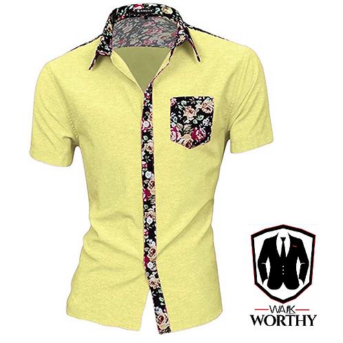 Men Summer Contrast Floral Print Pocket Short Sleeve Button Down