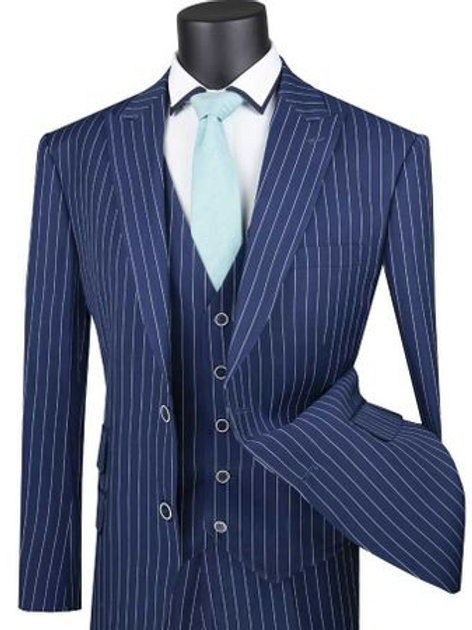 V2RS-9 Single Breasted 2 Buttons, 3pcs Vested Suit with Peak Lapel
