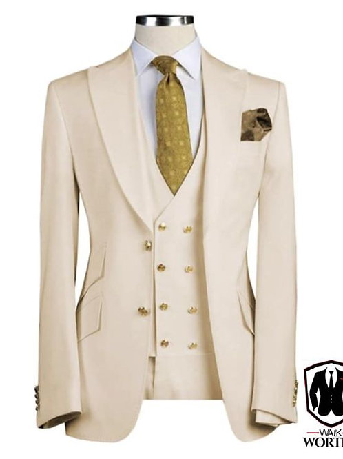 Cream 8 Button with Gold