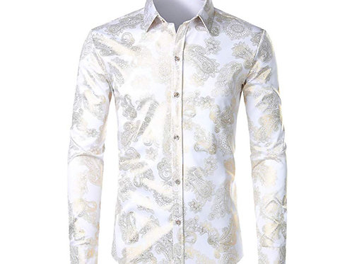 Men's Geek Rose Gold Shiny Flowered Printed Stylish Slim Fit Long Sleeve Button