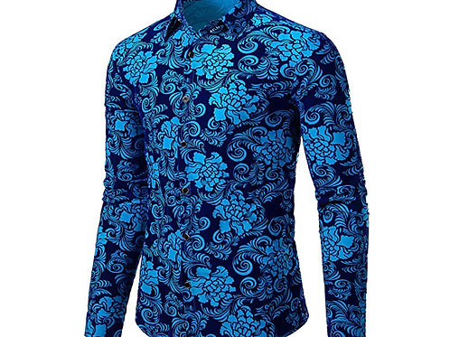 Floral Vintage Velvet Slim Fit Long Sleeve Casual Button Down Shirt