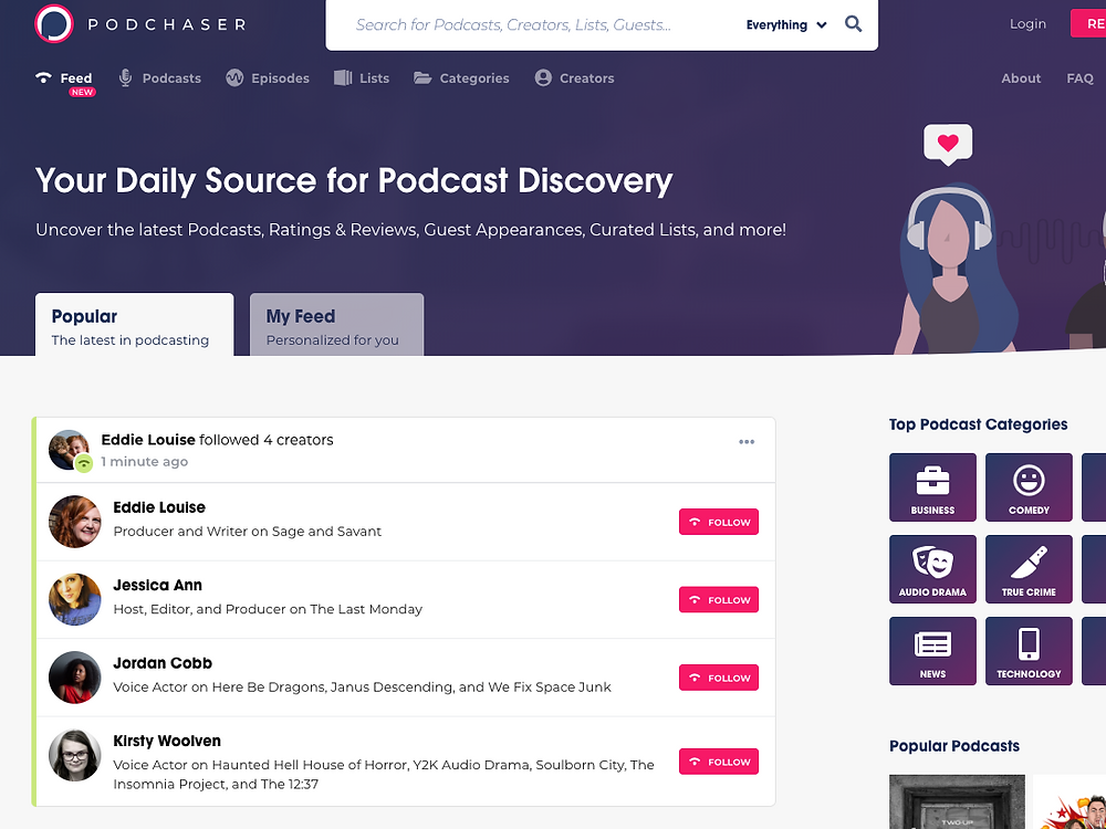 Podchaser home page feed