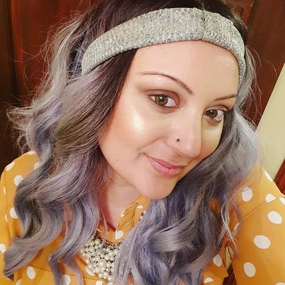 Lilac Wig Mustard Shirt