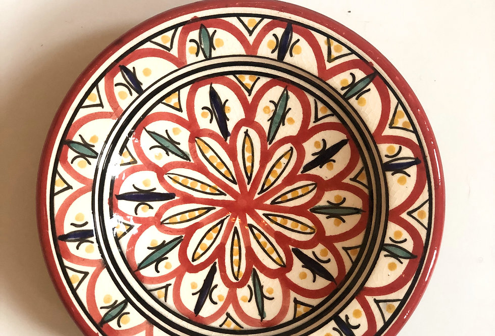 Red Painted Plate - Small