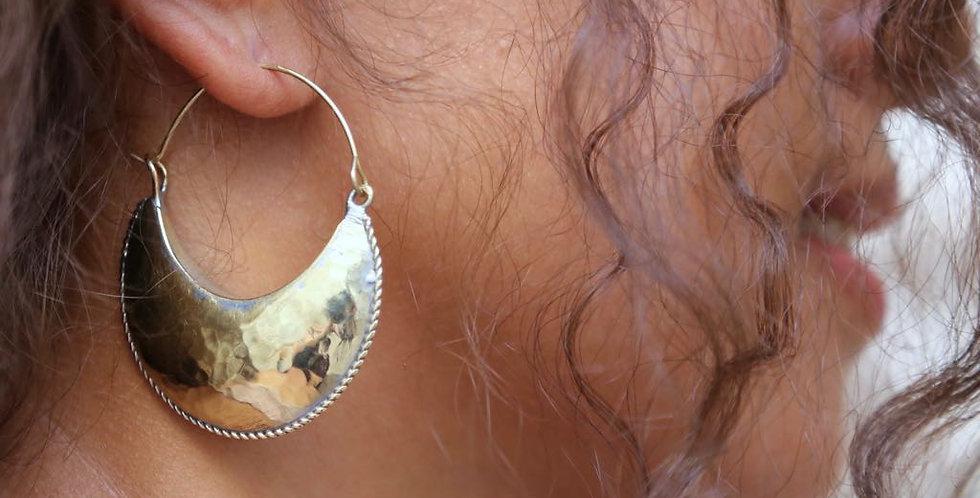 Handmade Golden Kamah Crescent Earrings