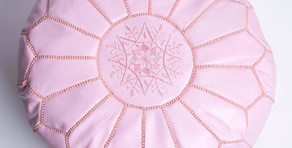 Moroccan Leather Pouf - Pink