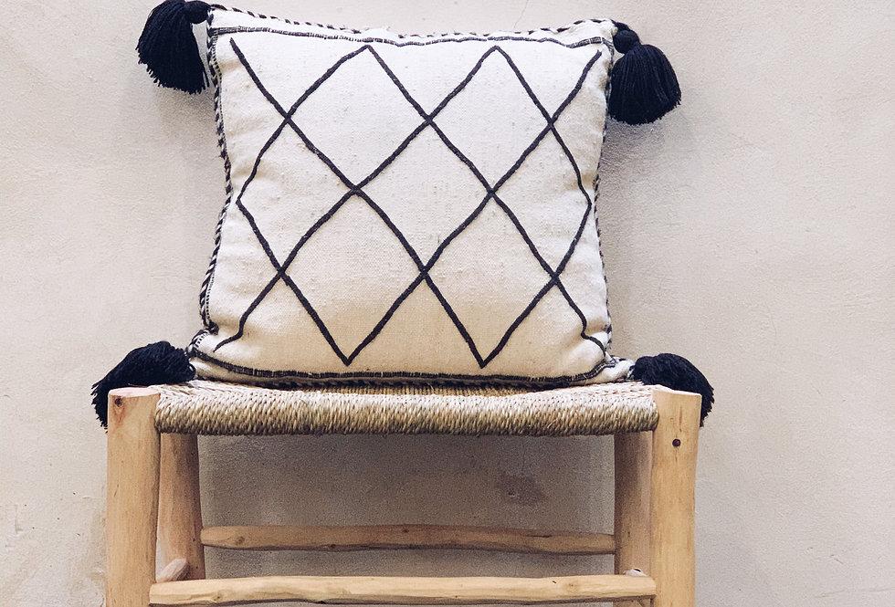 Black and White Handmade Pompom Pillow