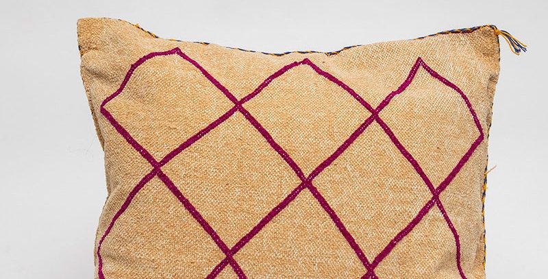Handmade Orange & Pink Diamonds Pillow