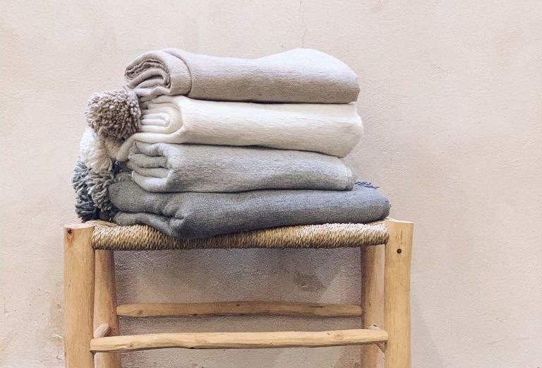 Handmade Moroccan Pompom Throw Blanket