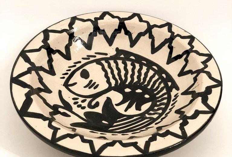 Illustrated Black Fish Ceramic Plate