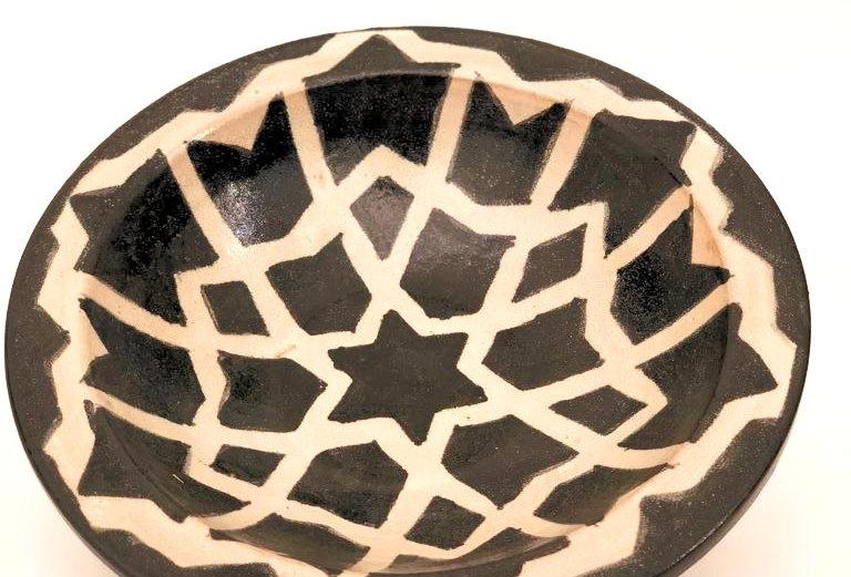 Illustrated Black Ceramic Plate