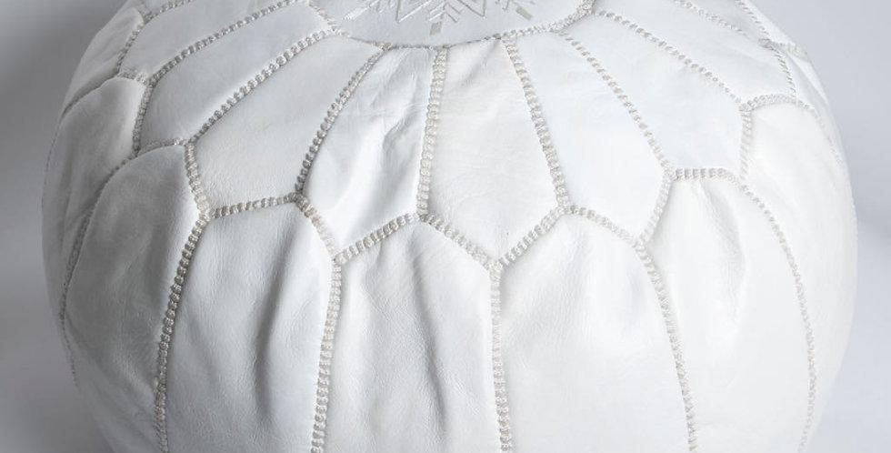 Moroccan Leather Pouf - White