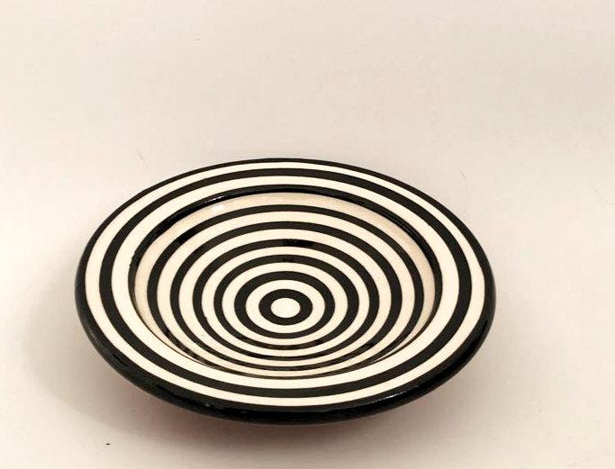 Black Striped Plate - Small