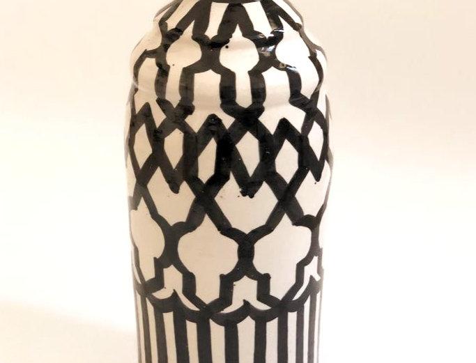 Black & White Painted Moroccan Vase
