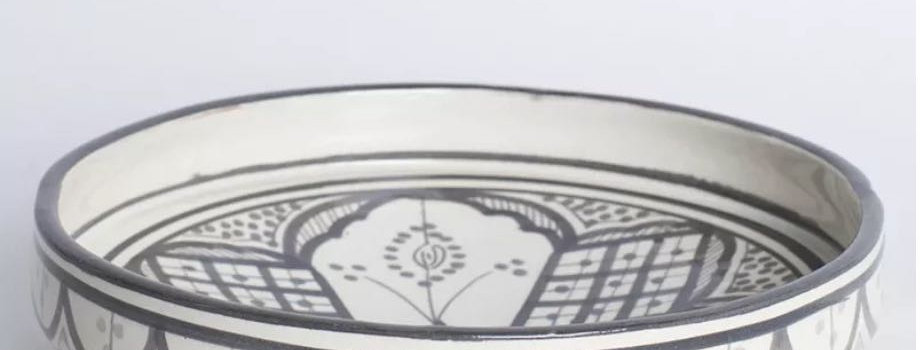 Grey Painted Ceramic Serving Plate