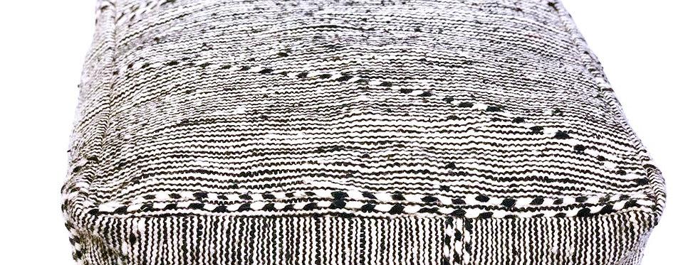 Black Striped Square Kilim Pouf
