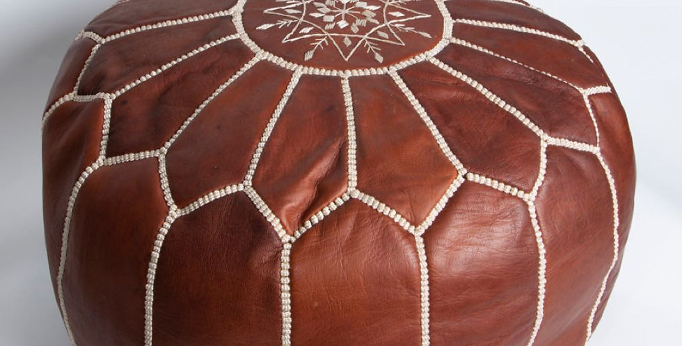 Moroccan Leather Pouf - Chocolate Brown