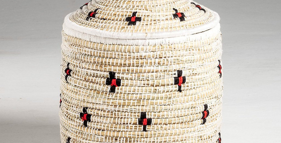 Handwoven Red & Black Dots Straw Basket
