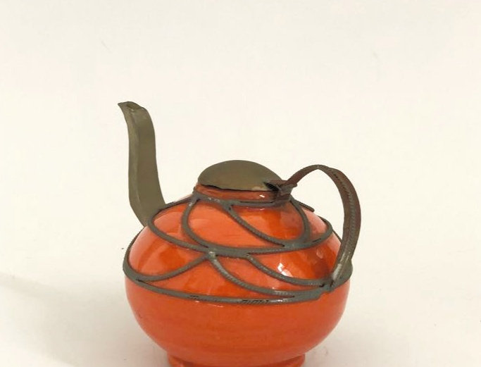 Small Orange Kettle for Oil and Decor