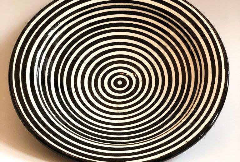 Black Striped Plate - Medium