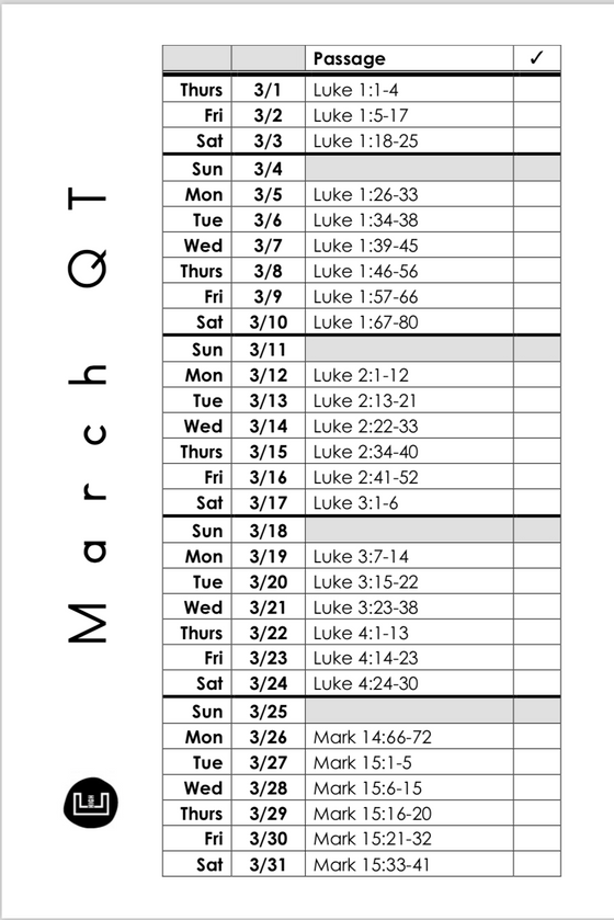 March QT Schedule