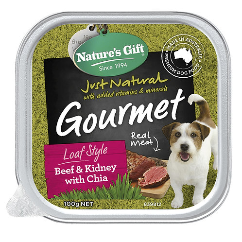 Natures Gift Gourmet Loaf Style Beef & Kidney with Chia