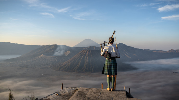 Bagpipes at Mount Bromo Java Indonesia (
