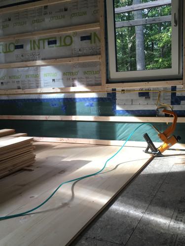 Pine floor in a passive house, Tivoli, NY